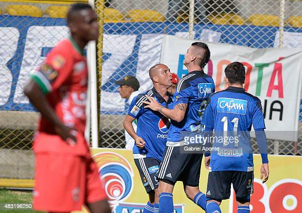 Michael Rangel of Millonarios celebrates after scoring the second goal of his team during a match between Patriotas FC and Millonarios as part of...