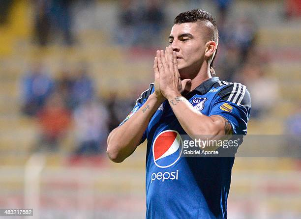 Michael Rangel of Millonarios reacts after failing to score during a match between Patriotas FC and Millonarios as part of Liga Aguila II 2015 at...