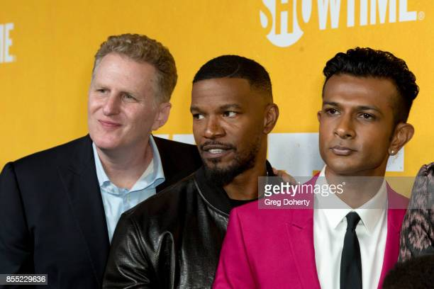 Michael Rapaport Jamie Foxx Utkarsh Ambudkar attend the Premiere Of Showtime's 'White Famous' at The Jeremy Hotel on September 27 2017 in West...