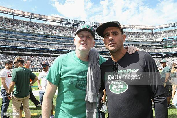 Michael Rappaport and Bobby Cannavale attend the New York Jets versus Cincinnati Bengals game at MetLife Stadium on September 11 2016 in East...