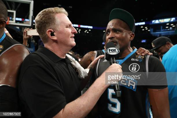 Michael Rappaport speaks to Cuttino Mobley of Power after defeating 3's Company during the BIG3 Championship at the Barclays Center on August 24 2018...
