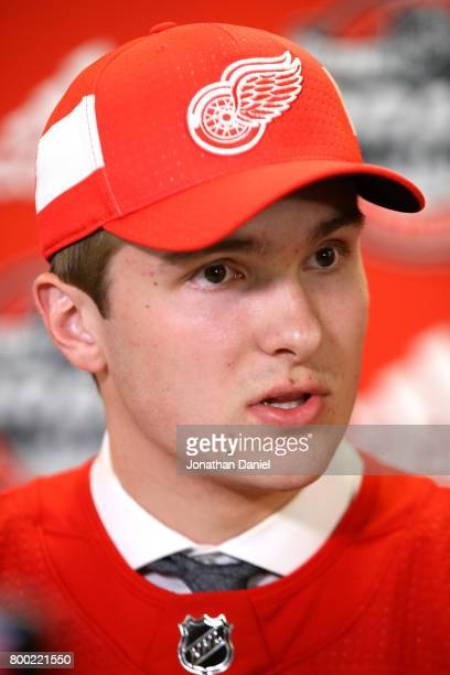 Michael Rasmussen is interviewed after being selected ninth overall by the Detroit Red Wings during the 2017 NHL Draft at the United Center on June...