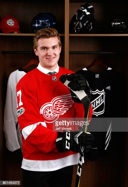 Michael Rasmussen ninth overall pick of the Detroit Red Wings poses for a portrait during Round One of the 2017 NHL Draft at United Center on June 23...