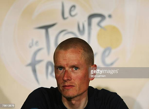 Michael Rasmussen of Denmark and Rabobank talks to the media during a rest day press conference for the 2007 Tour de France, on July 24, 2007 in Pau,...