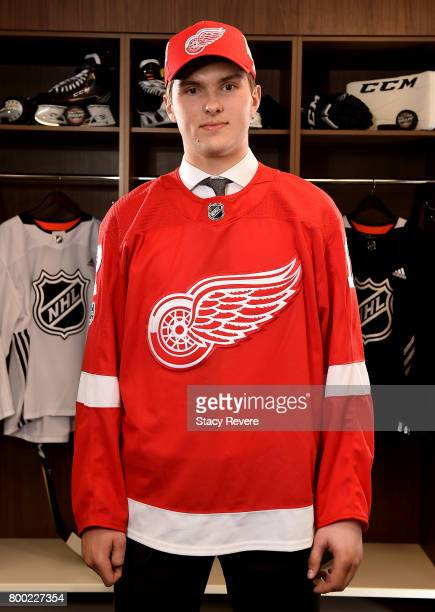 Michael Rasmussen poses for a portrait after being selected ninth overall by the Detroit Red Wings during the 2017 NHL Draft at the United Center on...
