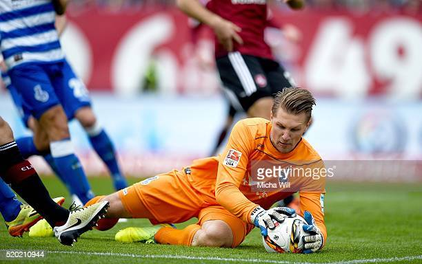 Michael Ratajczak of Duisburg catches the ball during the Second Bundesliga match between 1 FC Nuernberg and MSV Duisburg at Grundig Stadion on April...