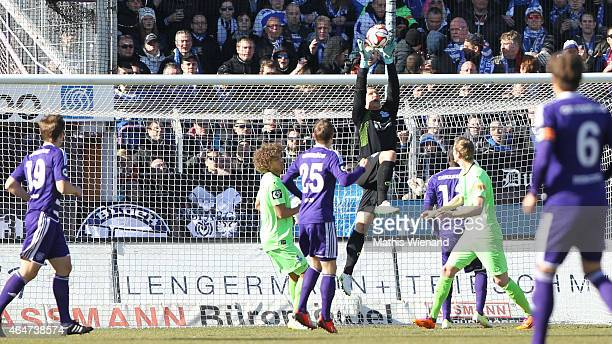 Michael Ratajczak of Duisburg catches the ball during the Third League match between VfL Osnabrueck and MSV Duisburg at Osnatel Arena on February 28...