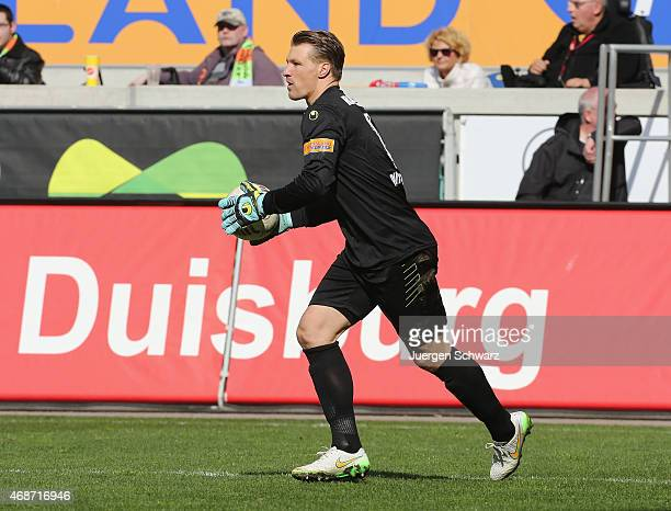 Michael Ratajczak of Duisburg grabs the ball during the 3rd Bundesliga match between MSV Duisburg and Hansa Rostock at SchauinslandReisenArena on...