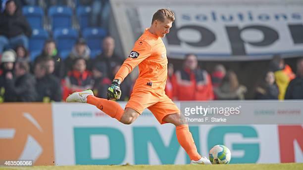 Michael Ratajczak of Duisburg kicks the ball during the Third League match between Arminia Bielefeld and MSV Duisburg at Schueco Arena on February 15...