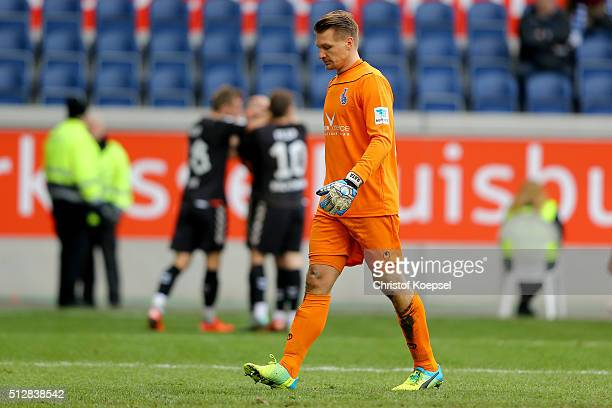 Michael Ratajczak of Duisburg looks dejected after te second gola of St Pauli during the 2 Bundesliga match between MSV Duisburg and FC St Pauli at...