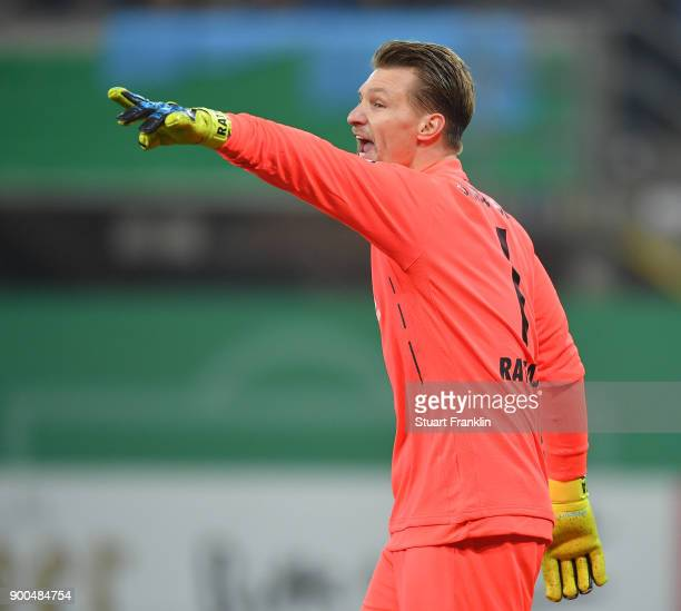 Michael Ratajczak of Paderborn in action during the DFB Cup match between SC Paderborn and FC Ingolstadt at Benteler Arena on December 19 2017 in...