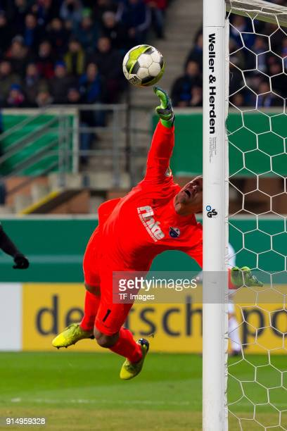 Michael Ratajczak of Paderborn in action during the DFB Cup match between SC Paderborn and Bayern Muenchen at Benteler Arena on February 6 2018 in...