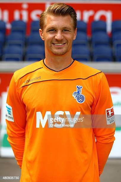 Michael Ratajczak poses during the team presenattion of MSV Duisburg at SchauinslandReisenArena on July 16 2015 in Duisburg Germany