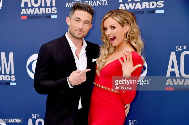 Michael Ray and Carly Pearce attends the 54th Academy Of Country Music Awards at MGM Grand Hotel Casino on April 07 2019 in Las Vegas Nevada