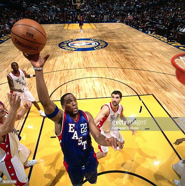 Michael Redd of the Eastern Conference AllStars shoots against the Western Conference AllStars during the 2004 AllStar Game on February 15 2004 at...