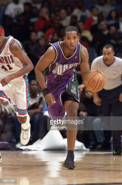 Michael Redd of the Milwaukee Bucks advances the ball upcourt against the Memphis Grizzlies during the game at The Pyramid on February 6, 2004 in...