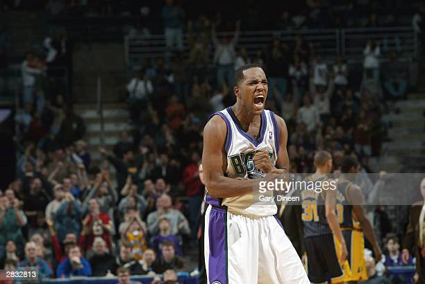 Michael Redd of the Milwaukee Bucks celebrates after sinking a threepointer against the Indiana Pacers December 26 2003 at the Bradley Center in...