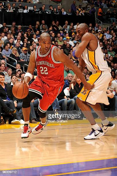 Michael Redd of the Milwaukee Bucks drives the ball against Kobe Bryant of the Los Angeles Lakers during the game on January 10 2010 at Staples...