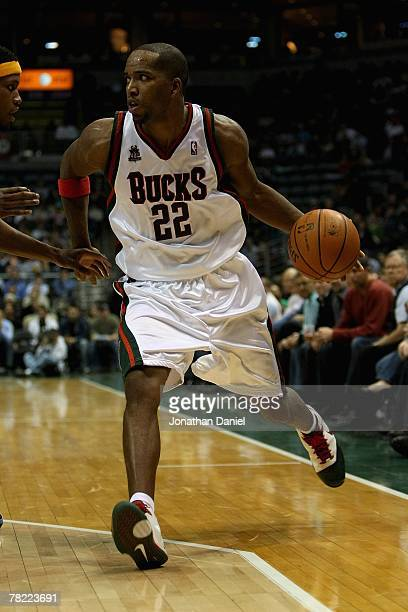 Michael Redd of the Milwaukee Bucks drives to the basket during the game against the Memphis Grizzlies on November 14 2007 at the Bradley Center in...