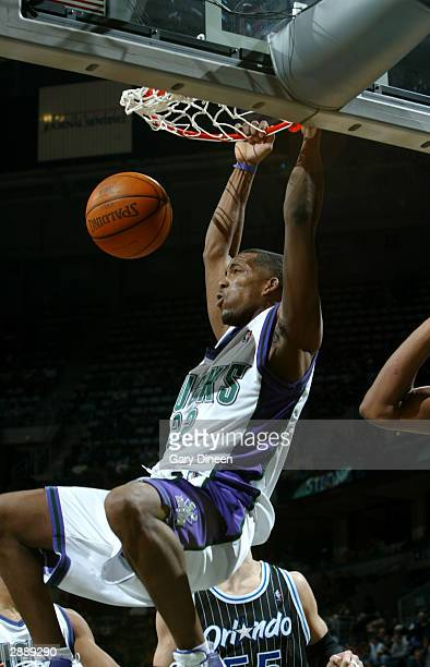 Michael Redd of the Milwaukee Bucks dunks against the Orlando Magic during the game January 21 2004 at the Bradley Center in Milwaukee Wisconsin NOTE...