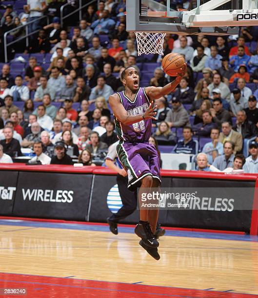 Michael Redd of the Milwaukee Bucks goes for a layup during the NBA game against the Los Angeles Clippers at Staples Center on December 17 2003 in...