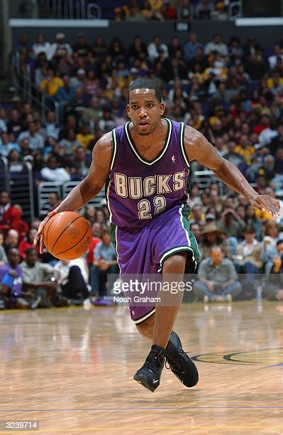 Michael Redd of the Milwaukee Bucks moves the ball during the game against the Los Angeles Lakers during the game on March 21 2004 at Staples Center...