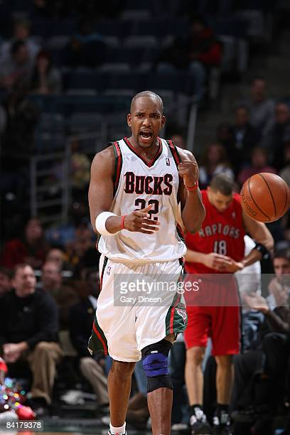 Michael Redd of the Milwaukee Bucks reacts after grabbing a rebound with 27 seconds remaining against the Toronto Raptors on January 5 2009 at the...