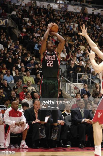Michael Redd of the Milwaukee Bucks shoots a jump shot during a game against the Toronto Raptors at Air Canada Centre on March 2 2007 in Toronto...