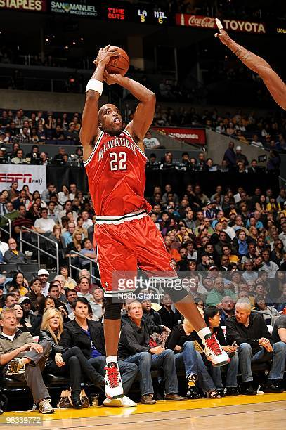 Michael Redd of the Milwaukee Bucks shoots a jumper during the game against the Los Angeles Lakers on January 10 2010 at Staples Center in Los...