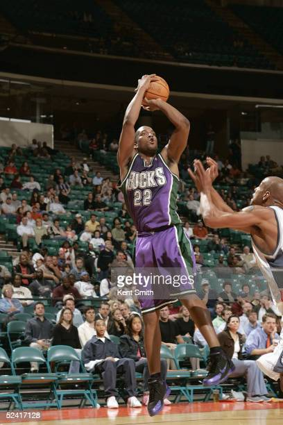 Michael Redd of the Milwaukee Bucks shoots against the Charlotte Bobcats during the game at Charlotte Coliseum on February 22, 2005 in Charlotte,...