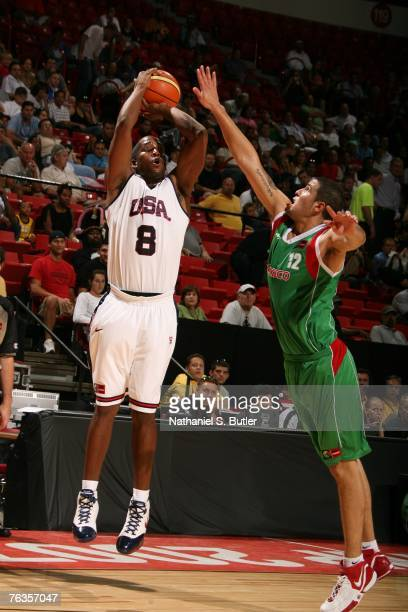 Michael Redd of the USA Men's Senior National Team shoots against Hector Hernandez of Mexico during the second round of the 2007 FIBA Americas...
