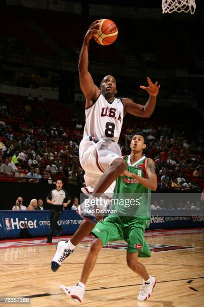 Michael Redd of the USA Men's Senior National Team shoots against Romel Beck of Mexico during the second round of the 2007 FIBA Americas Championship...