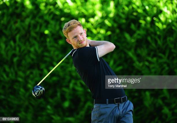 Michael Reed of Glen Gorse Golf Club plays his first shot on the 1st tee during the PGA Assistants Championship Midland Qualifier at Coventry Golf...