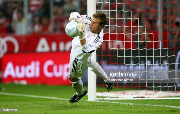Michael Rensing goalkeeper of Bayern saves the ball during the penalty shootout of the Audi Cup tournament final match FC Bayern Muenchen v...
