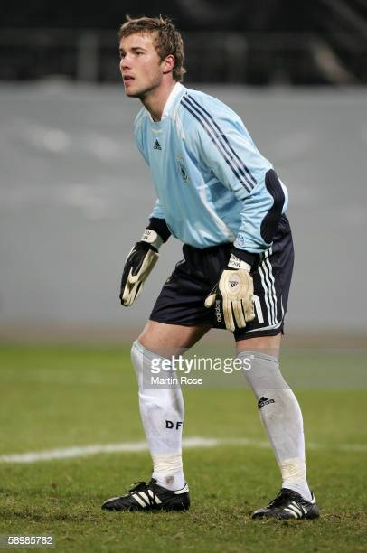 Michael Rensing goalkeeper of Germany gives instructions during the men's under 21 international friendly match between Germany and Latvia on...