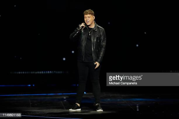 Michael Rice from United Kingdom performs live on stage during the 64th annual Eurovision Song Contest held at Tel Aviv Fairgrounds on May 17 2019 in...