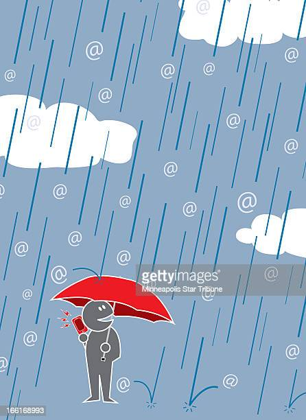 Michael Rice illustration of a happyface person holding a smartphone and umbrella while being rained on by an @ storm