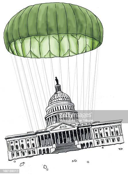 Michael Rice illustration of US Capitol building floating off the so=called fiscal cliff under a compromise parachute