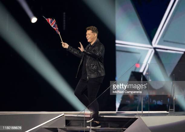 Michael Rice representing United Kingdom arrives on stage during the 64th annual Eurovision Song Contest held at Tel Aviv Fairgrounds on May 18 2019...