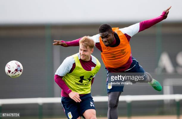 Michael Richards of Aston Villa in action during a training session at the club's training ground at Bodymoor Heath on April 28 2017 in Birmingham...