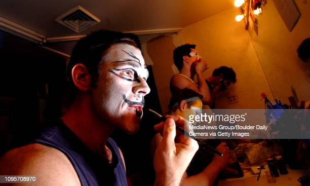 Michael Richman at left who plays Macavity and Plato applies his makeup in the Boulder's Dinner Theatre dressing rooms on Tuesday April 26 2011 From...