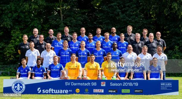 Luca Gelzleichter of SV Darmstadt 98 poses during the team presentation at JonathanHeimes Stadion on July 19 2018 in Darmstadt Germany