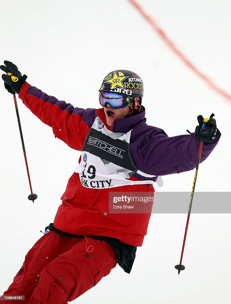 Michael Riddle of Canada celebrates after competing in the Men's Half Pipe Final in the FIS Freestyle World Ski Championships at Park City Mountain Resort on February 5, 2011 in Park City, Utah.