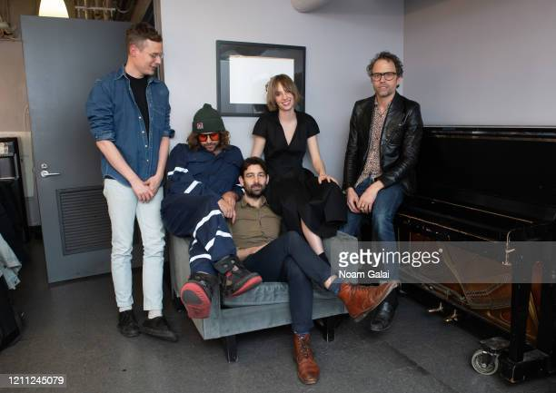 Michael Riddleberger, Benjamin Lazar Davis, Will Graefe, Maya Hawke and Jesse Harris pose for a photo backstage at Joe's Pub on March 08, 2020 in New...