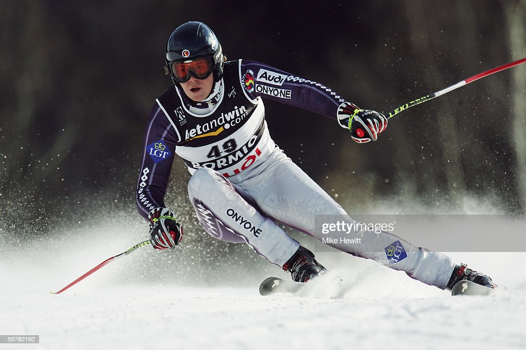 Michael Riegler of Liechtenstein in action during the Men's Super-G at the FIS Alpine World Ski Championships on January 29, 2005 in Bormio, Italy.