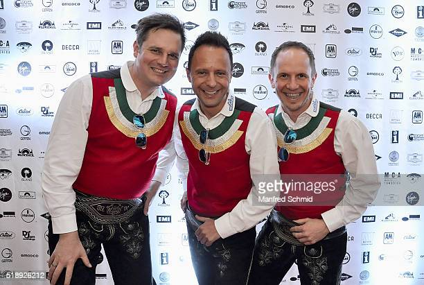 Michael Ringler Markus Unterladstaetter and Daniel Prantl of Die Jungen Zillertaler attend the Amadeus Austrian Music Award Get2gether Party at La...