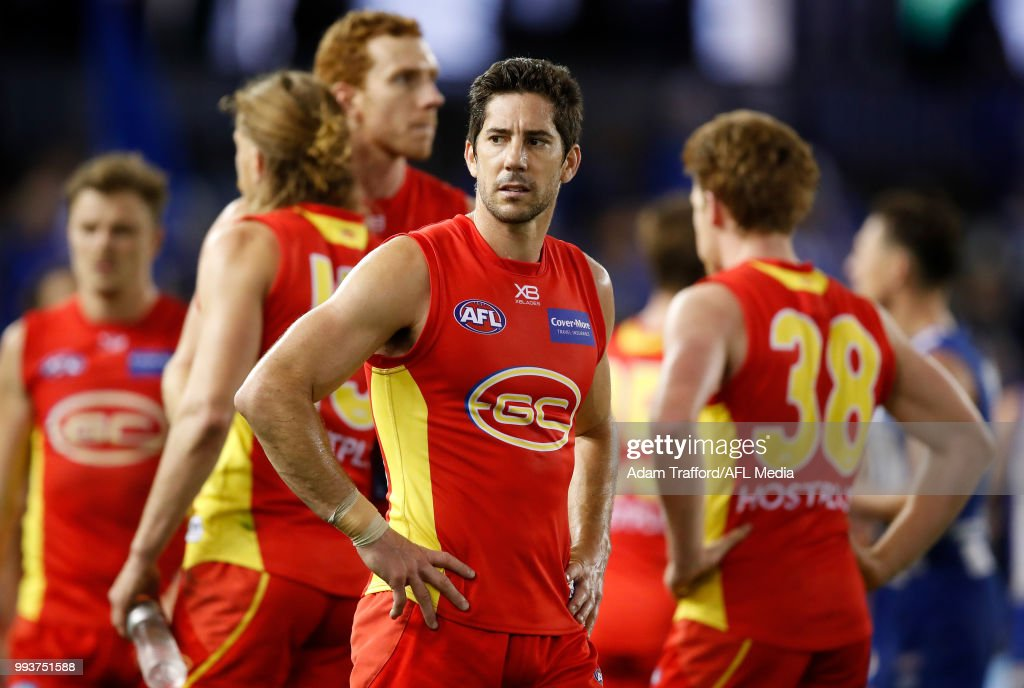 Michael Rischitelli of the Suns looks dejected after a loss during the 2018 AFL round 16 match between the North Melbourne Kangaroos and the Gold Coast Suns at Etihad Stadium on July 08, 2018 in Melbourne, Australia.