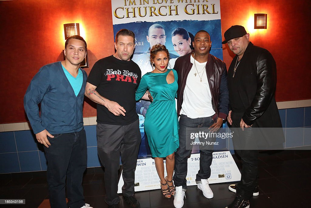Michael Rivera, Stephen Baldwin, Adrienne Bailon, Ja Rule and Galley Molina attend the 'I'm In Love With a Church Girl' screening at the Regal E-Walk Stadium 13 on October 18, 2013 in New York City.