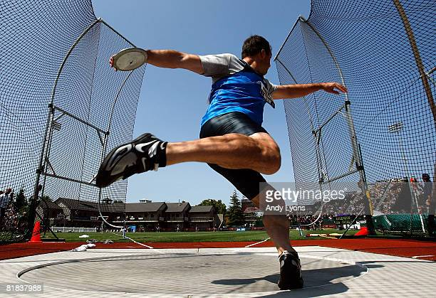 Michael Robertson competes in the men's discus throw final during day eight of the US Track and Field Olympic Trials at Hayward Field on July 6 2008...