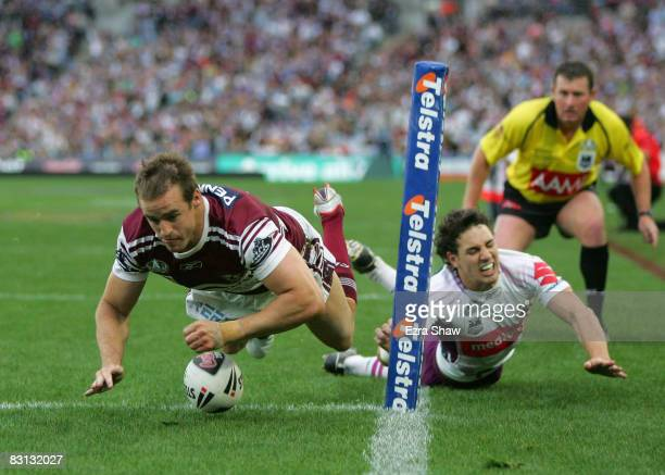 Michael Robertson of the Sea Eagles scores a try during the NRL Grand Final match between the Manly Warringah Sea Eagles and the Melbourne Storm at...